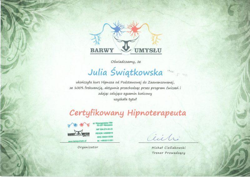 Barwy Umysłu Certyfikowany Hipnoterapeuta