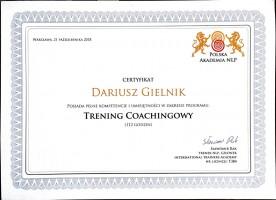 Dariusz Gielnik Certyfikat Trening Coachingowy