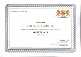 Dariusz Gielnik Certyfikat Master NLP