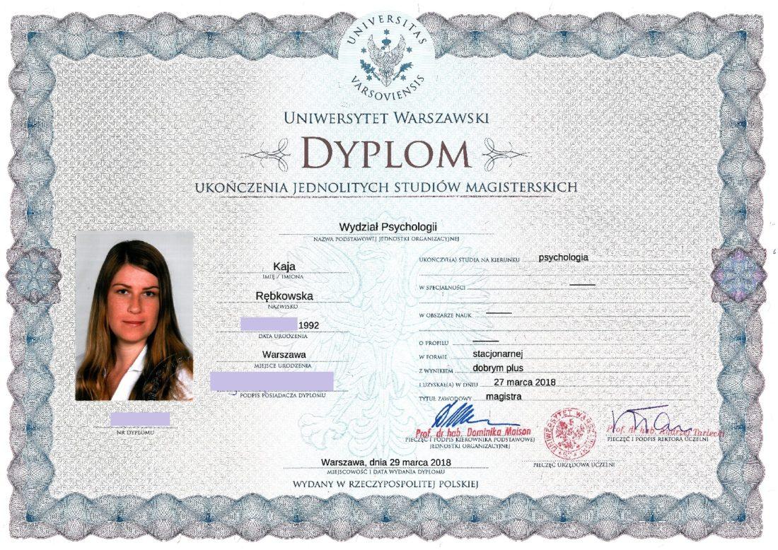 Dyplom ukończenia studiów mgr - Psychologia; Uniwersytet Warszawski